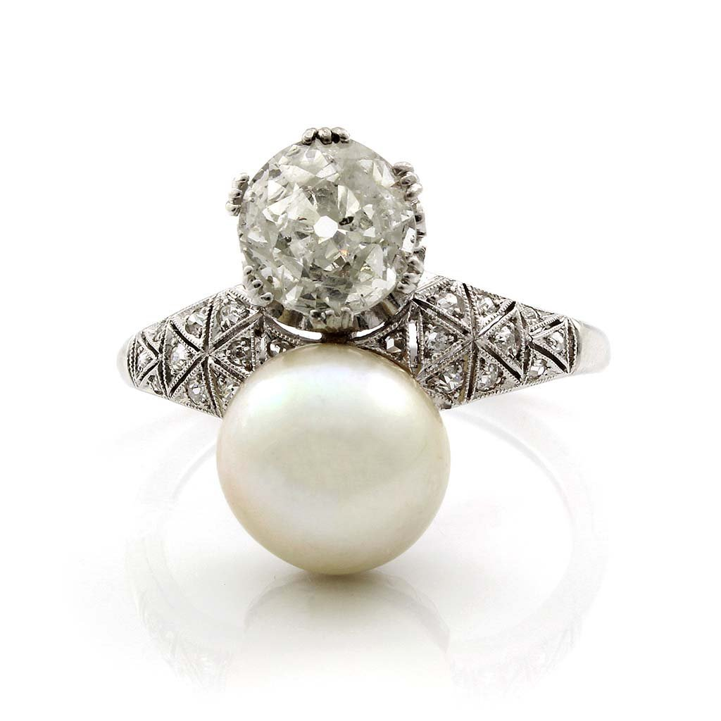 Old European Cut Diamond & Cultured Pearl Platinum Ring