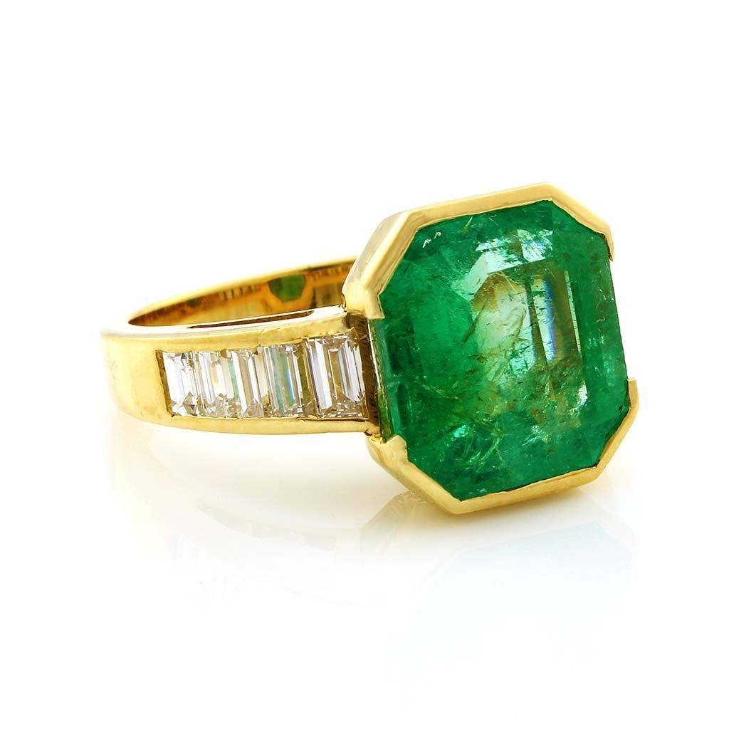 Emerald & Diamond 18K Yellow Gold Ring