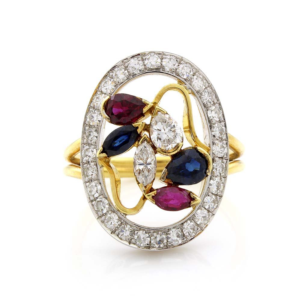 Diamond, Sapphire & Ruby 18K Two Tone Gold Openwork