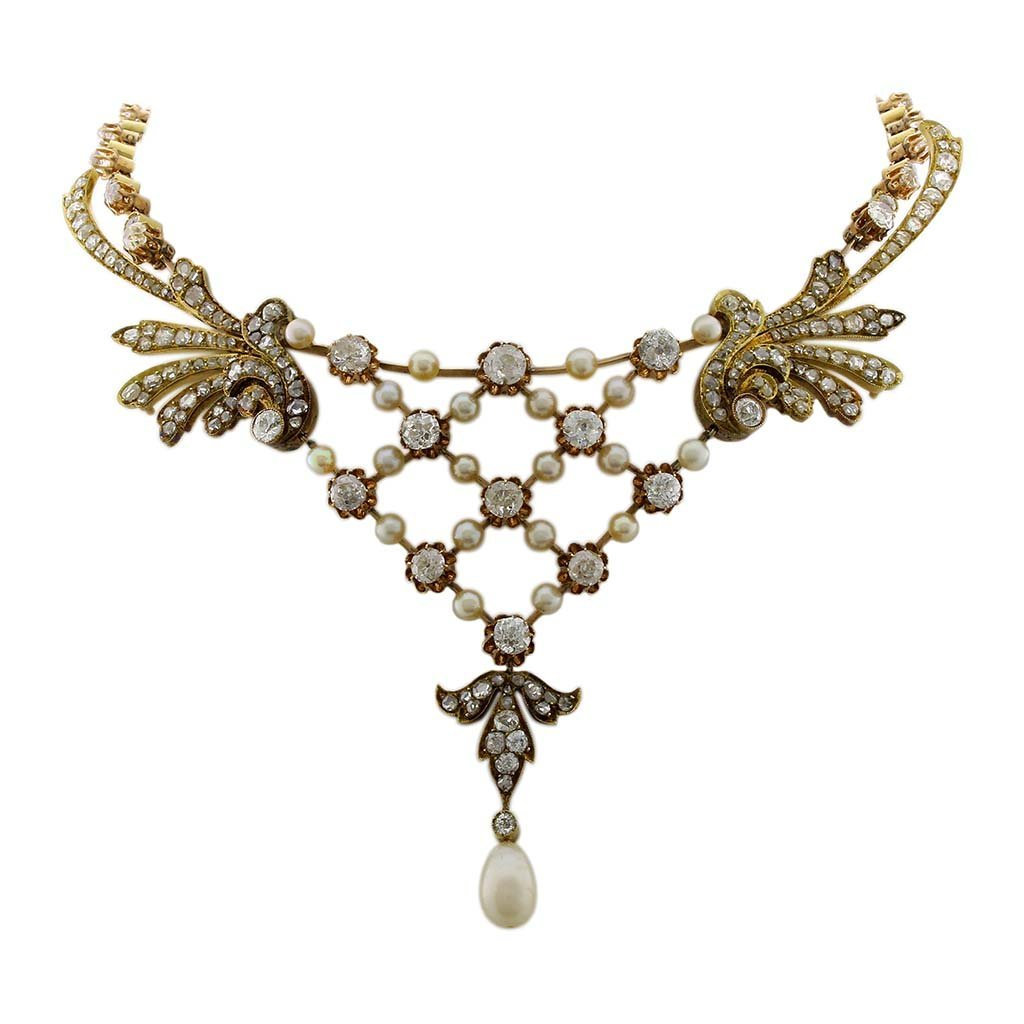 Victorian Saltwater Natural Pearl & Diamond 18K Gold