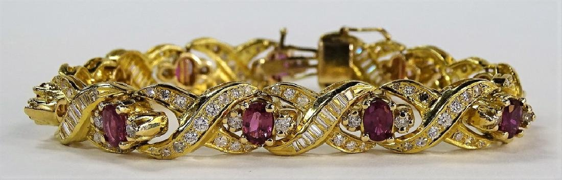 LADIES EXTRAVAGANT 18KT YG RUBY & DIAMOND BRACELET