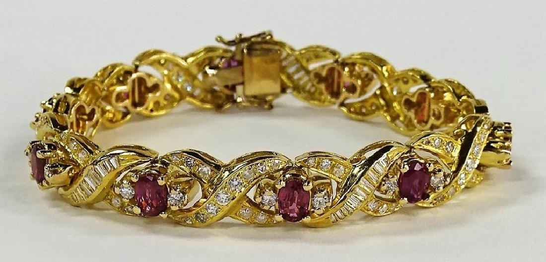 LADIES EXTRAVAGANT 18KT YG RUBY & DIAMOND BRACELET - 3