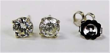 PR FANCY 14KT WG 100CT DIAMOND STUD EARRINGS