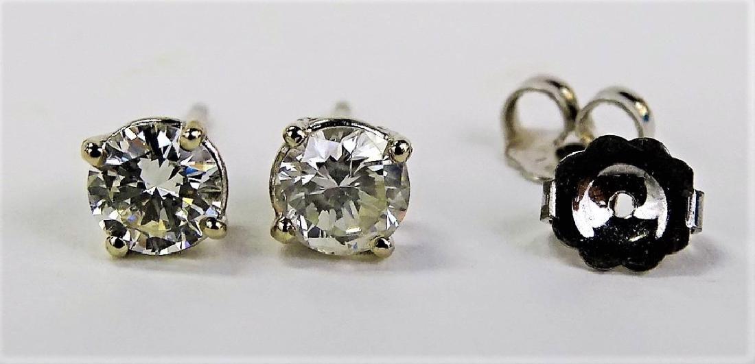 PR FANCY 14KT WG 1.00CT DIAMOND STUD EARRINGS