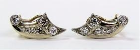 PR DECO PLATINUM & 14KT YG DIAMOND EARRINGS