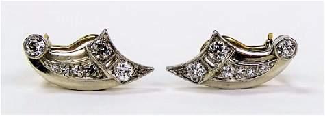 PR DECO PLATINUM  14KT YG DIAMOND EARRINGS