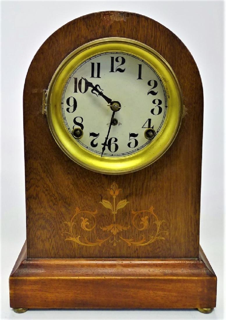 SETH THOMAS INLAID MAHOGANY CASE BEEHIVE CLOCK