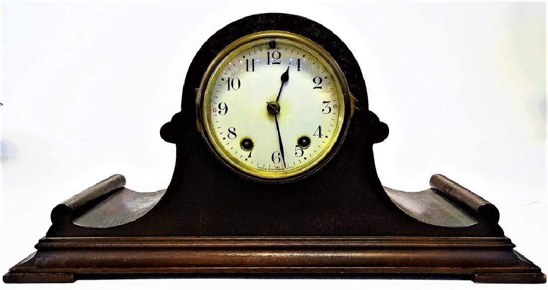 SETH THOMAS MAHOGANY CASE TAMBOR MANTEL CLOCK