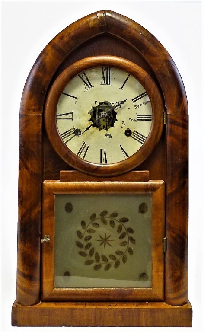 ANTIQUE E. INGRAHAM WALNUT BEEHIVE SHELF CLOCK