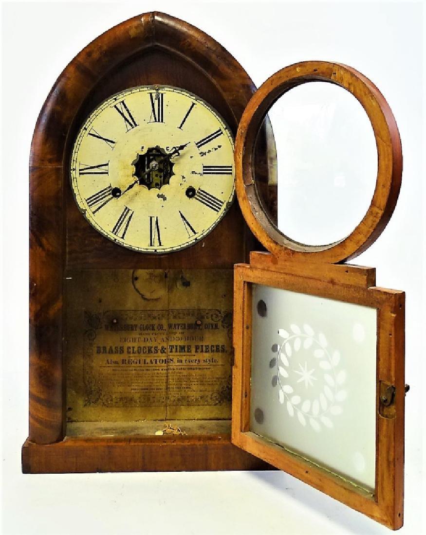 ANTIQUE E. INGRAHAM WALNUT BEEHIVE SHELF CLOCK - 2