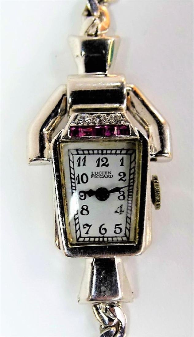 LUCIEN PICCARD 14KT W GOLD DIAMOND & RUBY WATCH