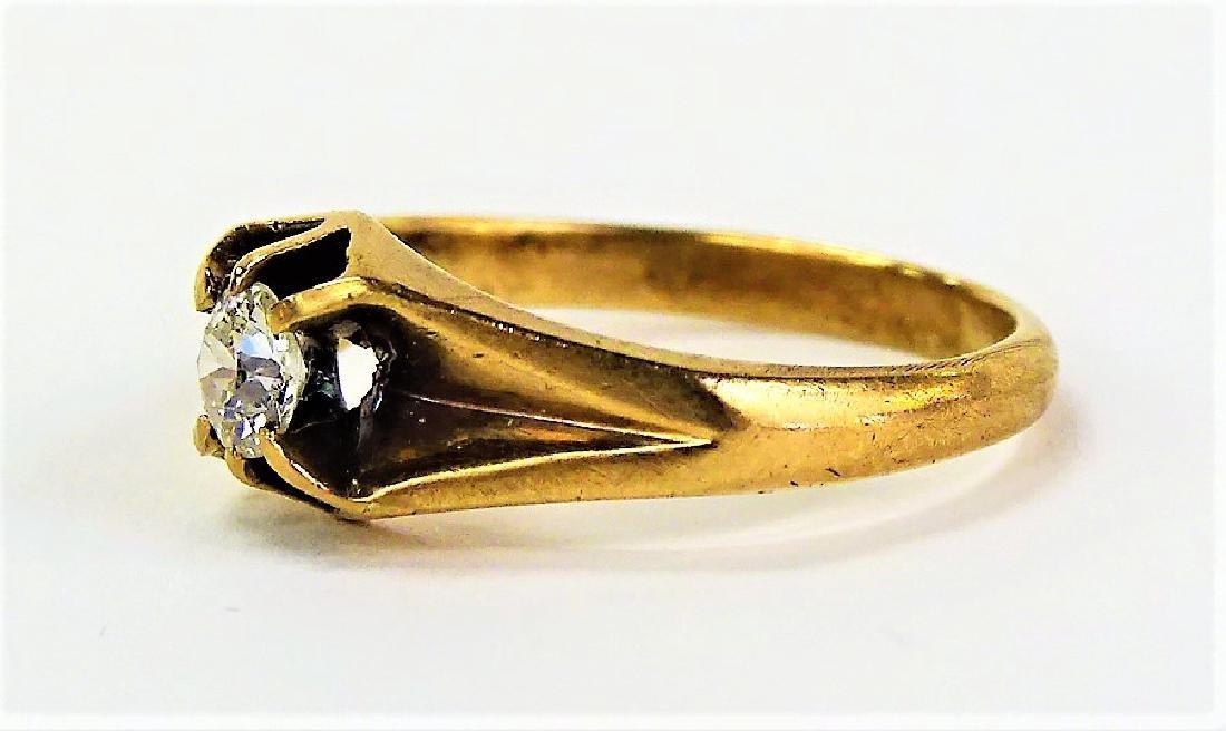 LADIES VICTORIAN 14KT YELLOW GOLD & DIAMOND RING - 3
