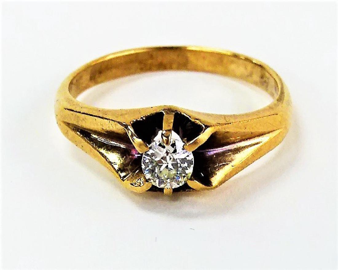 LADIES VICTORIAN 14KT YELLOW GOLD & DIAMOND RING - 4
