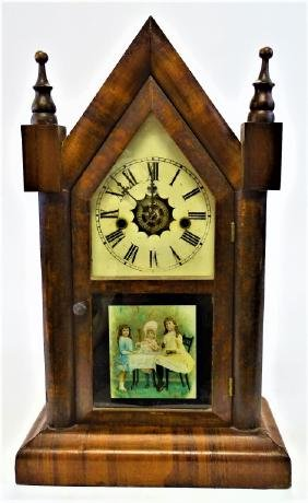 19TH C. WATERBURY ROSEWOOD CASE STEEPLE CLOCK