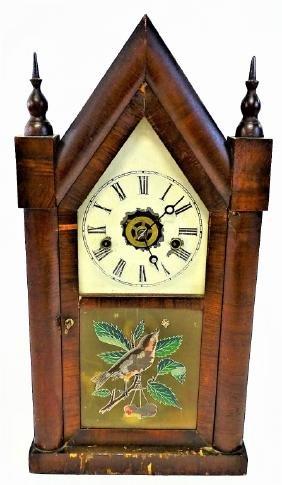19TH C. ANSONIA MAHOGANY CASE STEEPLE CLOCK