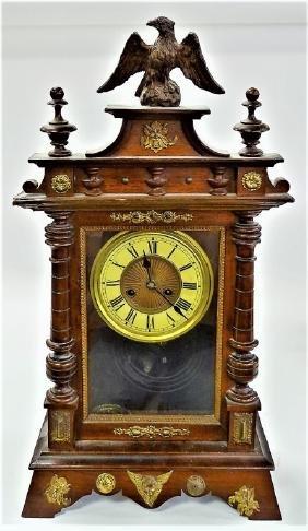 19TH C. EMPIRE STYLE MAHOGANY SHELF CLOCK