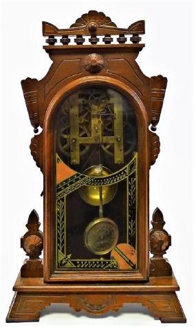 20TH C. AMERICAN CARVED MAHOGANY CASE SHELF CLOCK