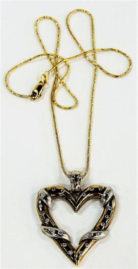 14KT TWO-TONE GOLD HEART CHARM PENDANT NECKLACE