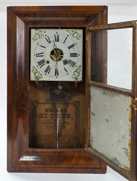 19TH C. CHAUNCEY JEROME OGEE MIRRORED SHELF CLOCK
