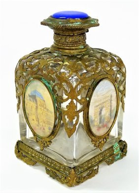 ANTIQUE FRENCH PERFUME BOTTLE GUILLOCHE TOP