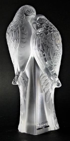 LALIQUE FRANCE 'DEUX PERRUCHES' CRYSTAL GROUPING