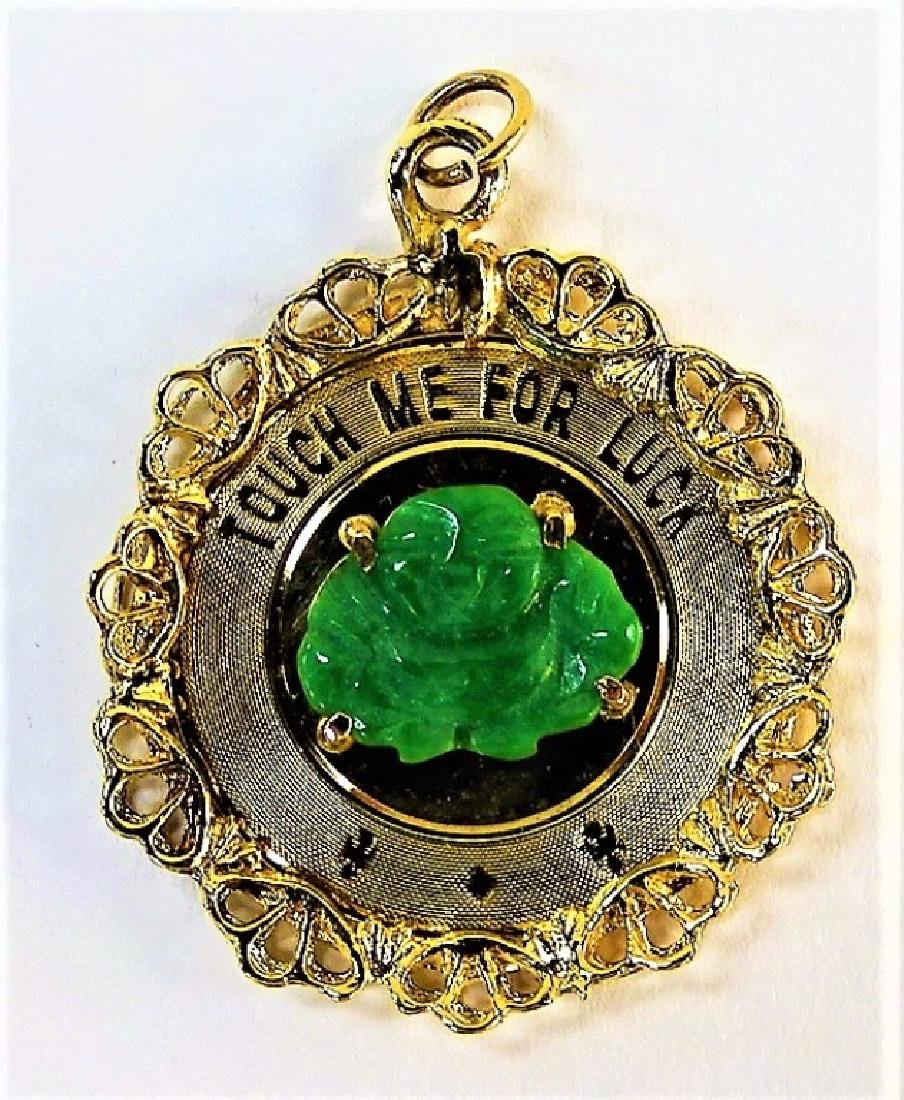 14KT Y GOLD PENDANT JADE TITLED TOUCH ME FOR LUCK