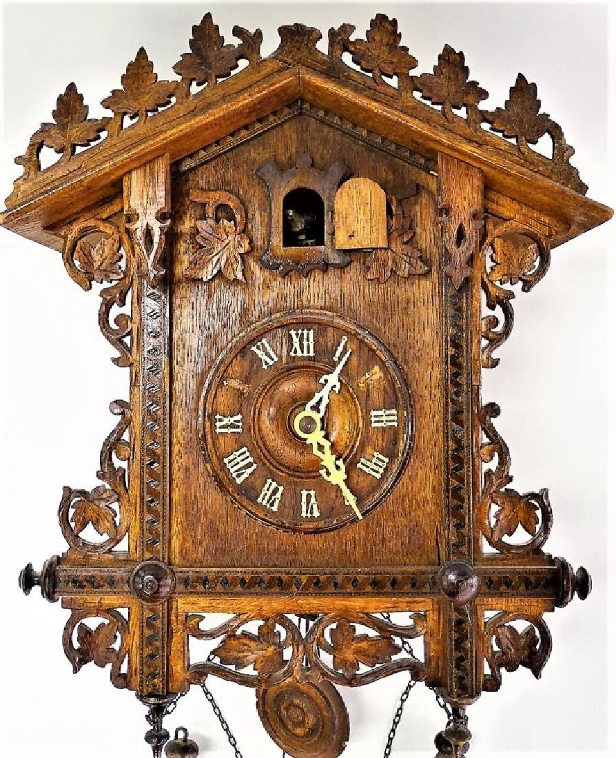 GERMAN CARVED WOOD CUCKOO CLOCK - 2