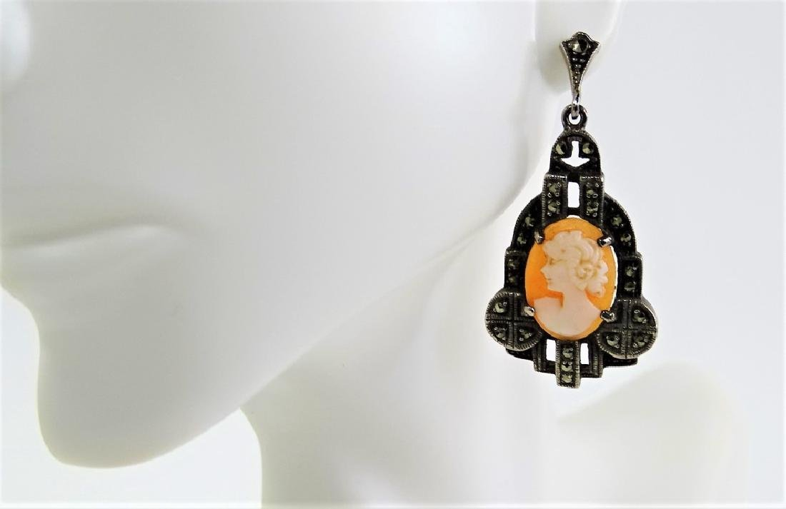 PR VICTORIAN STERLING & MARCASITE CAMEO EARRINGS - 3