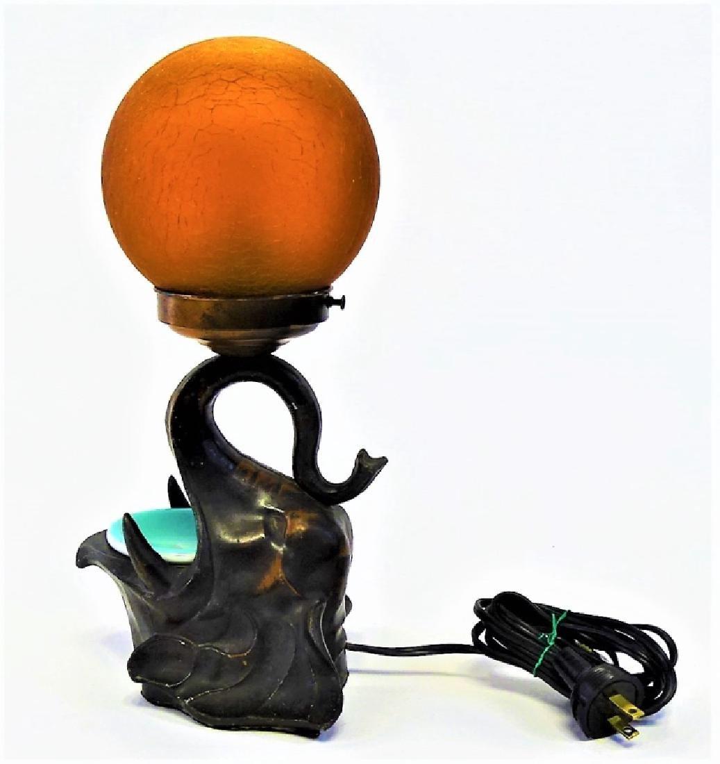 DECO FRANKART SIGNED ELEPHANT HEAD LAMP - 3