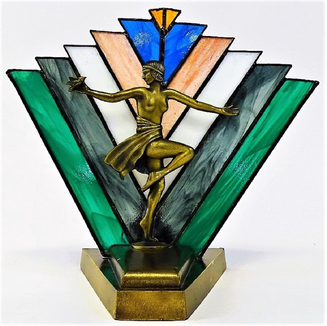 ART DECO REVIVAL PEACE MOOD LAMP WITH NUDE