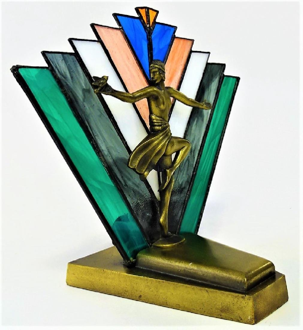 ART DECO REVIVAL PEACE MOOD LAMP WITH NUDE - 3