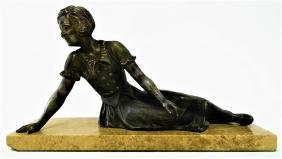 LARGE ART DECO SPELTER FIGURE OF A YOUNG GIRL