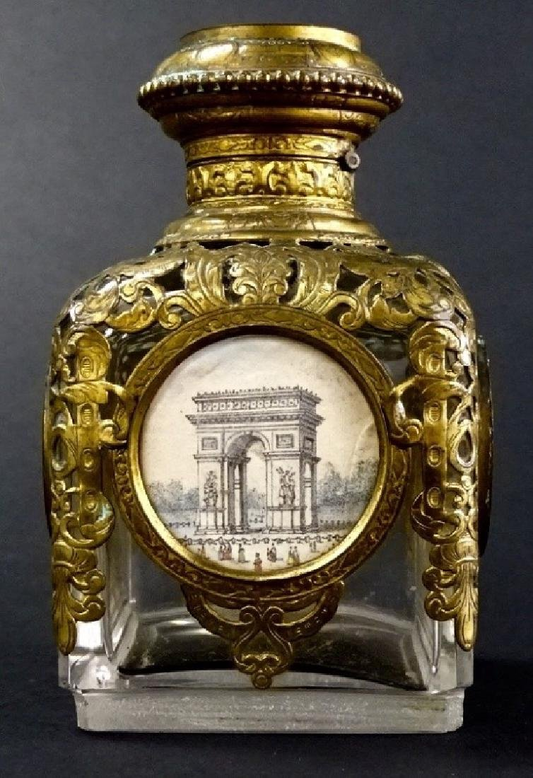 ANTIQUE FRENCH BRASS TRIM PERFUME BOTTLE - 2