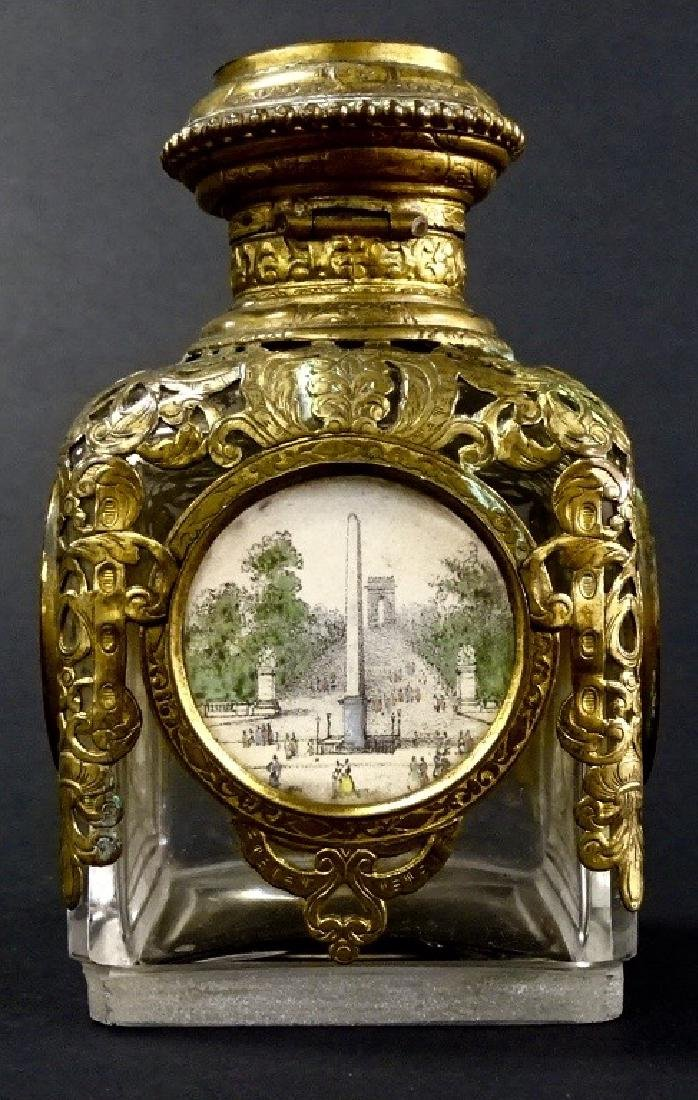 ANTIQUE FRENCH BRASS TRIM PERFUME BOTTLE - 3