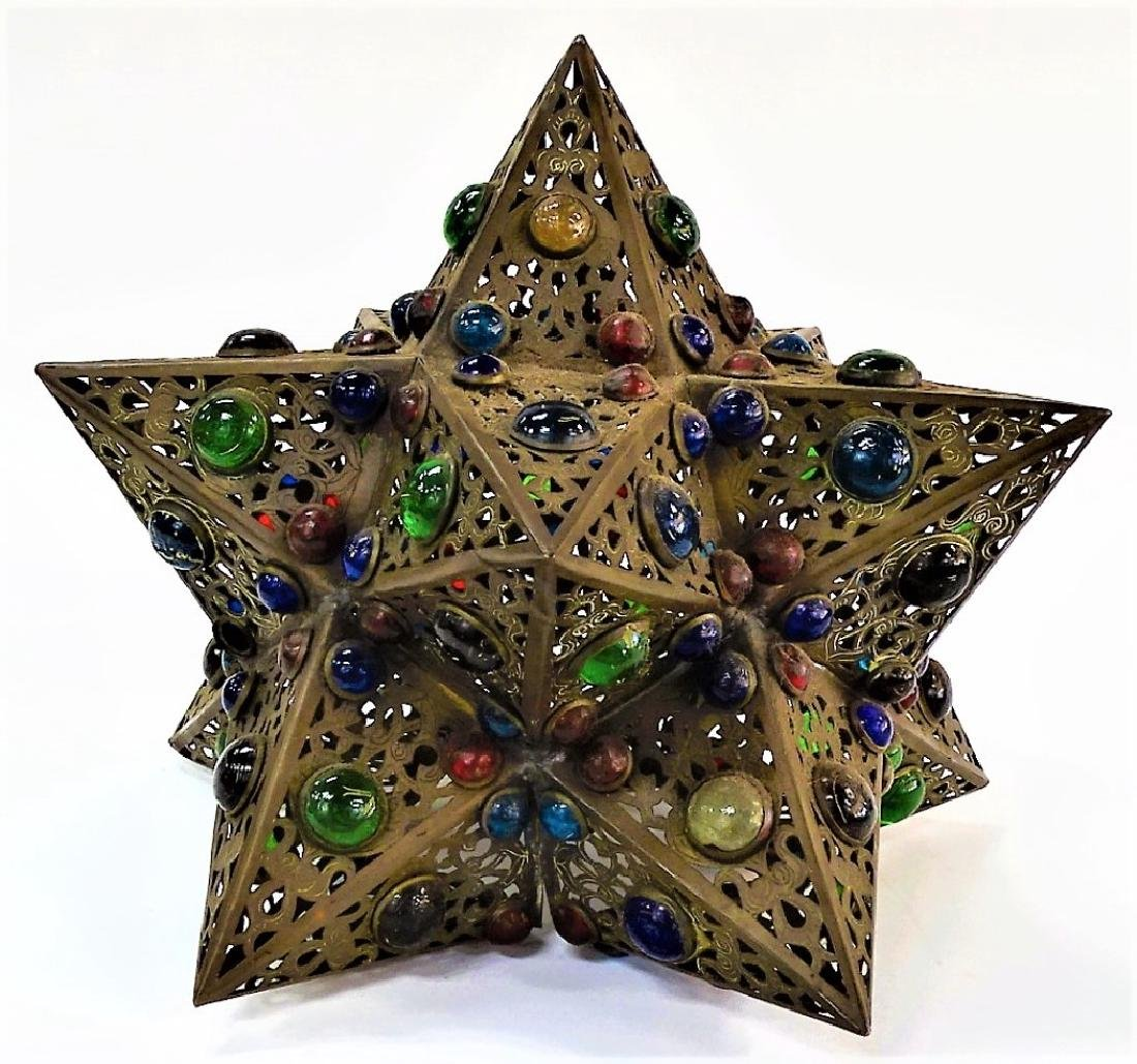 HANDCRAFTED JEWELED STAR SHAPE BRASS LIGHT FIXTURE