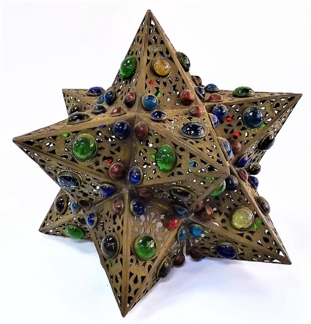 HANDCRAFTED JEWELED STAR SHAPE BRASS LIGHT FIXTURE - 2