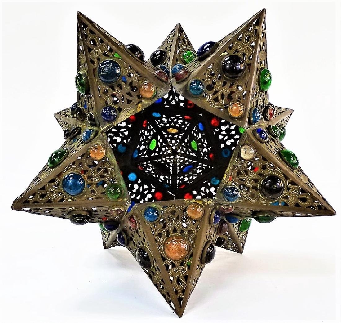 HANDCRAFTED JEWELED STAR SHAPE BRASS LIGHT FIXTURE - 3