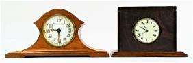 TWO EARLY 20TH C. WOOD CASE SHELF CLOCKS