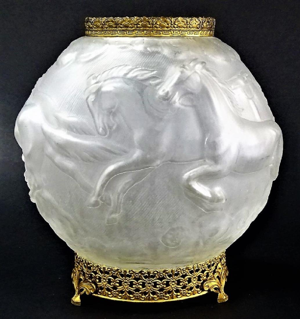 VINTAGE CONSOLIDATED GLASS BOWL WITH GOLD MOUNTS