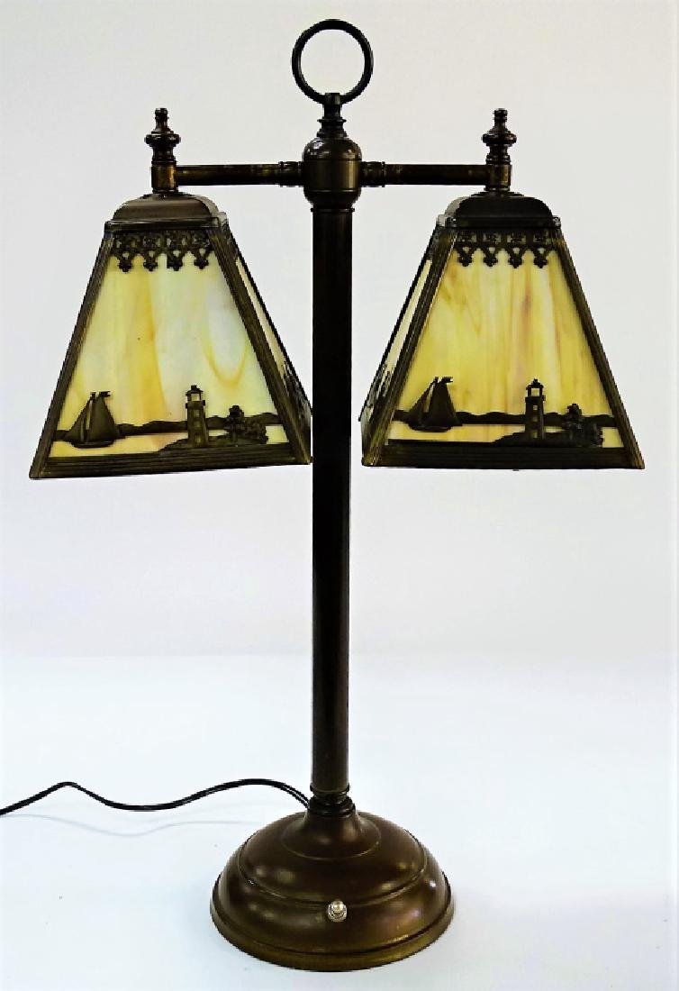 VINTAGE TWO SHADE BRASS & SLAG GLASS LAMP