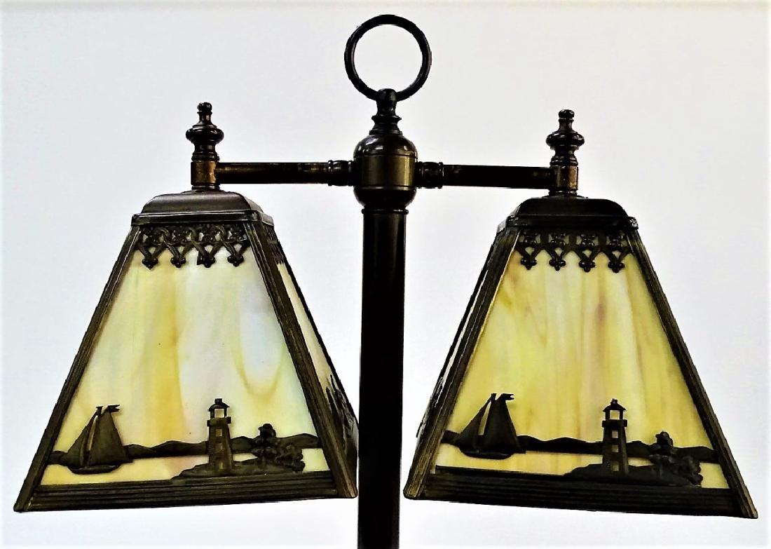 VINTAGE TWO SHADE BRASS & SLAG GLASS LAMP - 2