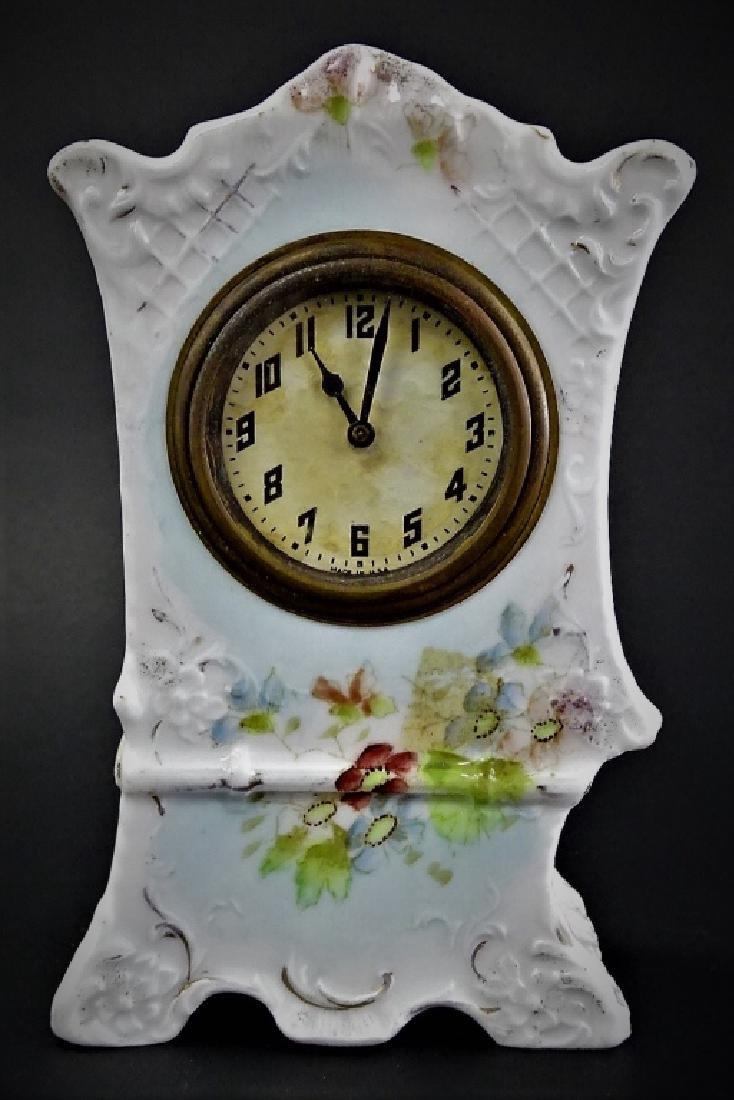 ANTIQUE NEW HAVEN PORCELAIN CASE ALARM CLOCK