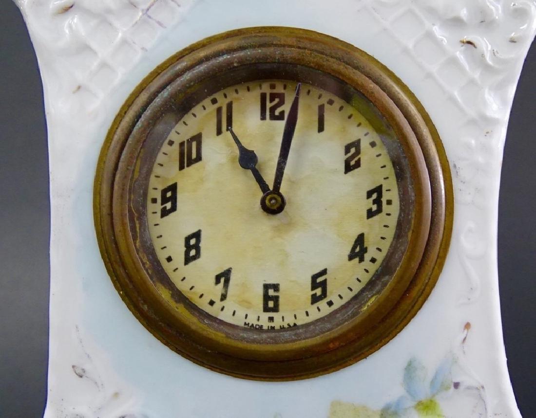 ANTIQUE NEW HAVEN PORCELAIN CASE ALARM CLOCK - 2