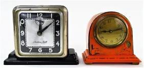 TWO ART DECO CHROME & ENAMEL DESK CLOCKS
