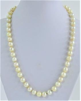 LADIES VINTAGE SALTWATER PEARL BEADED NECKLACE