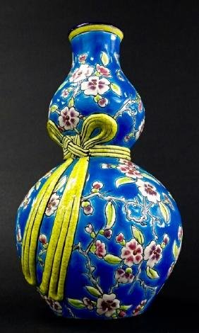 ANTIQUE FRENCH FAIENCE LONGWY STYLE GOURD VASE