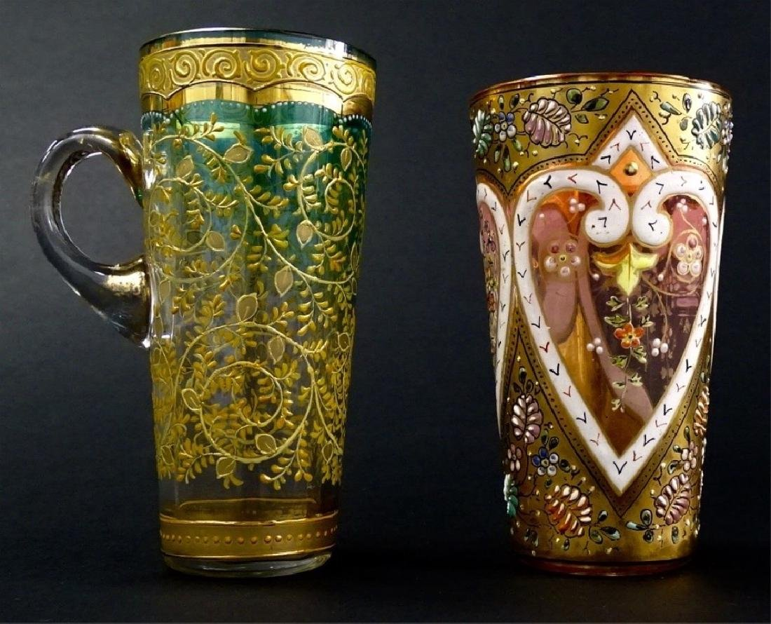 2 ANTIQUE MOSER ITEMS GLASS AND CUP