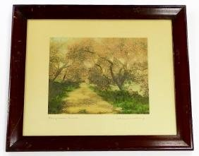 ANTIQUE WALLACE NUTTING HAND COLORED PRINT SIGNED
