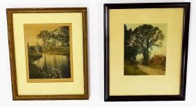 2 WALLACE NUTTING HAND COLORED PRINTS SIGNED