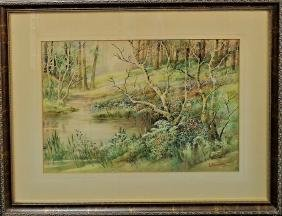 20TH CENTURY AMERICAN WATERCOLOR ON PAPER PAINTING